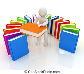 3d white man with and books on a white background