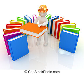 3d white man in a hard hat with best technical literature on...