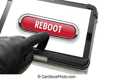 Online mobile reboot concept with hand wearing black glove...