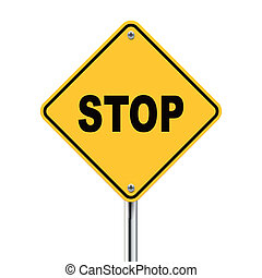 3d illustration of stop road sign