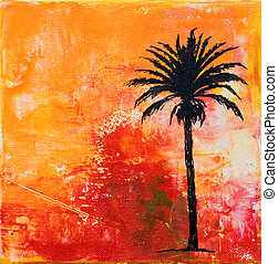 palm-tree artwork - painting with palmtree, artwork is...