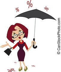 Woman with umbrella. Percent of the