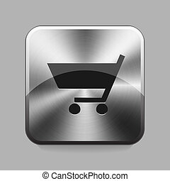 Chrome button - Bussines cart chrome button or icon vector...