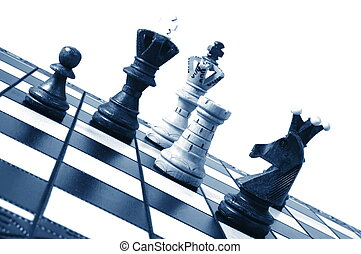 chess pieces on a chess board showing concept for strategic...