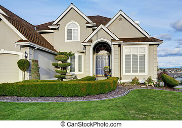 Luxury house exterior Entrance porch view - Luxury house...