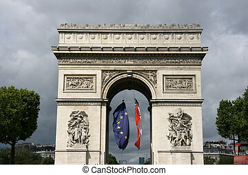 Landmark of Paris - Famous landmark of Paris, France. Arc de...