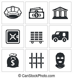 Bank icons set - Bank icon collection on a white background