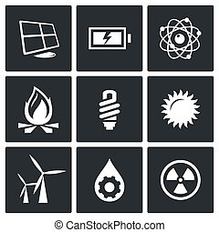 Energy icons set - Energy icon collection on a black...