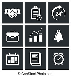 office business icons set - office business icon collection...
