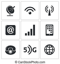 Communication and connection icons set