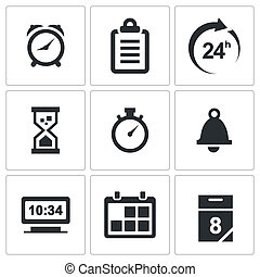 Clock and time icons set - Clock and time icon collection on...