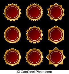 Set of Golden Blank Seal Wax Stamp. Vector