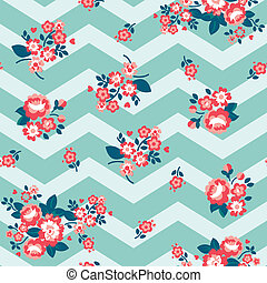 Minty Teal Chevron Roses Wallpaper