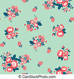 Ditsy Teal Tea Roses Wallpaper - Seamless Repeat Tile
