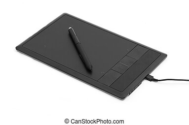 digital, graphic tablet and pen isolated on white
