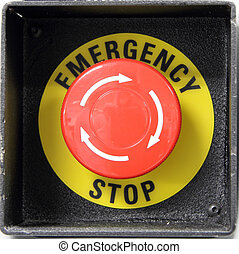 Red button with emergency stop word