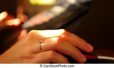 Female Hands Clicking Computer Mouse. Teleworking at Home....