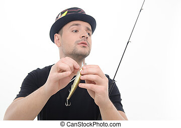 Fishing is always pleasure - Half-length portrait of prudent...