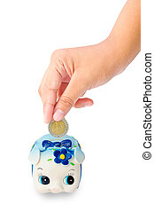 Money Saving with Piggy bank on white background saving...