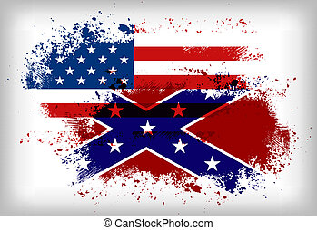 Confederate flag vs Union flag Civil war concept