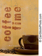 coffee mug and handmade background with writing, artwork in...