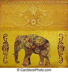 Elephant artwork - collage painting with elephant, artwork...