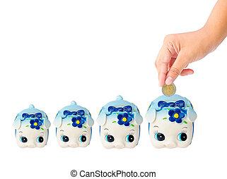 Many Money Saving with Piggy bank on white background saving...