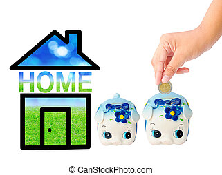 Money Saving with Piggy bank and home icon saving money for...