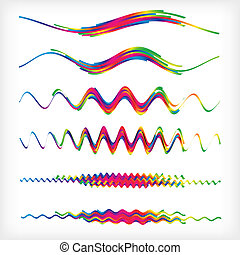 Set of 6 wavy rainbow dividers. Abstract vector