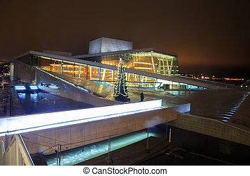 Oslo Opera House Norway - Oslo Opera House shine at night...