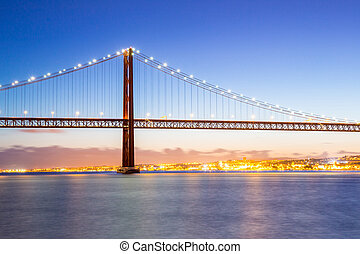 Lisbon Bridge cityscape - Lisbon cityscape and the 25 de...