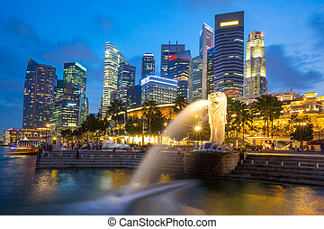 Singapore Skyline in commercial District on Merlion Park...