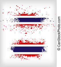 Grunge Thai ink splattered flag vectors