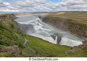Waterfall Gullfoss, Iceland - Panoramic view of Waterfall...