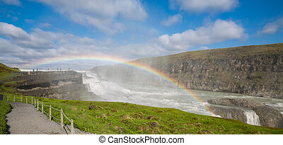 Closeup of Waterfall Gullfoss, Iceland - Closeup of...