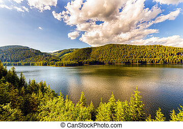 Mountain Lake Vidra summer evening view near Romania...