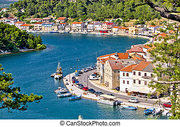 Dalmatian fisherman village of Novigrad aerial view, Croatia