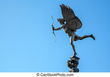 Cupid statue - Eros Cupid statue of Piccadilly Circus,...