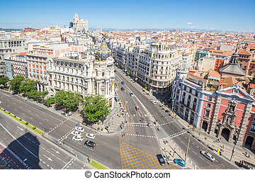 Gran Via Madrid - aerial view of Gran Via, main shopping...