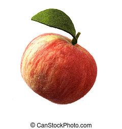 brinquedo, maçã, isolado, feito, branca, lã
