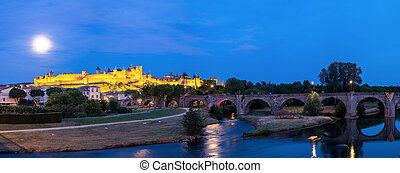 Carcassonne France - Panorama of Carcassonne Ancient Town...