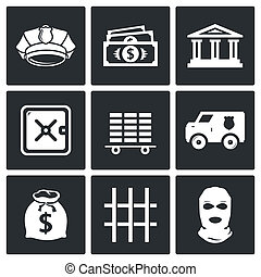 Bank icons set - Bank icon collection on a black background