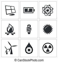 Vector energy icons set - Energy icons set on a white...