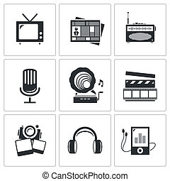 Media icons set - video, news, music, TV, recording, photo -...