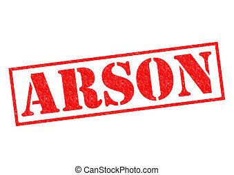 ARSON Rubber Stamp - ARSON red Rubber Stamp over a white...