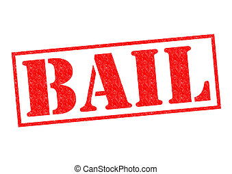 BAIL Rubber Stamp - BAIL red Rubber Stamp over a white...