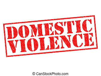 DOMESTIC VIOLENCE red Rubber Stamp over a white background.