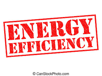 ENERGY EFFICIENCY red Rubber Stamp over a white background.