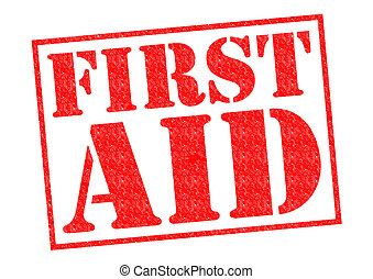 FIRST AID red Rubber Stamp over a white background.