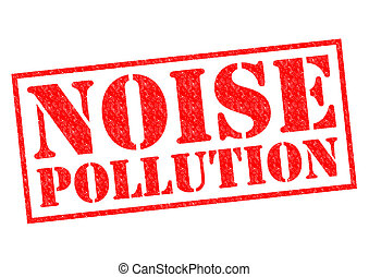 NOISE POLLUTION red Rubber Stamp over a white background
